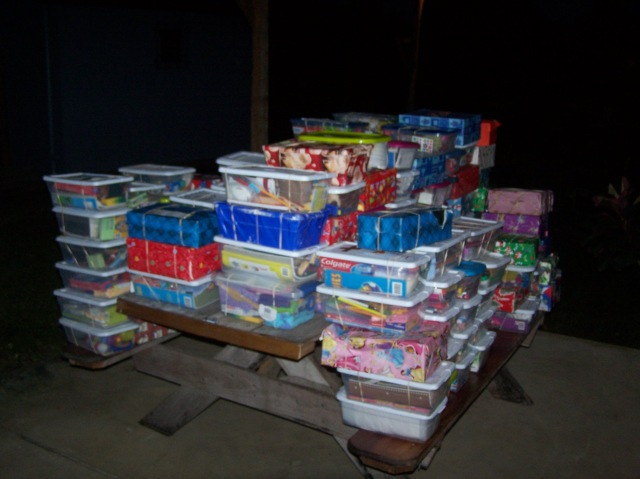 Our shoe boxes sorted and ready for delivery during the mission trip to Belize in December of 2012.