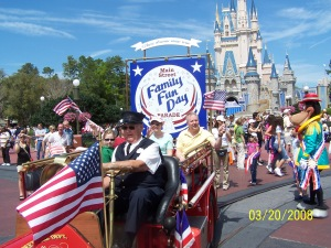 Riding in the afternoon parade at Disney World in 2008.