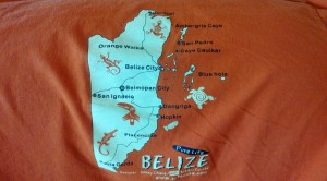 My Belize t-shirt with a map of the country.