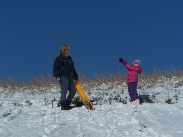 Sledding on the last big snow fall.
