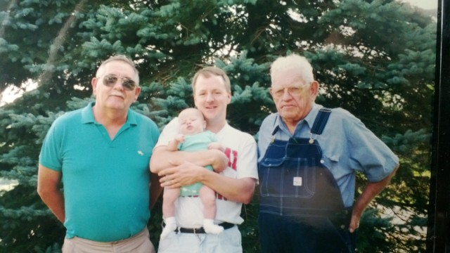My grandfather Joe Hoss, father, me and my son in 1995