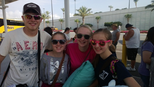 My son, daughter and two close friends prior to boarding the ship on Sunday.