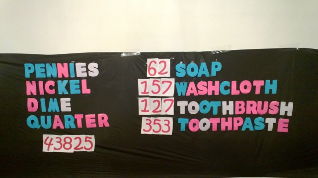This is the totals for the items the kids brought over four days.