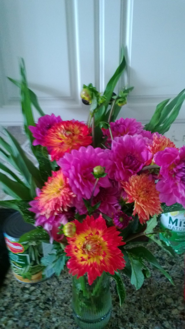 This is an arrangement of Dahlias we took to church.