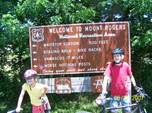 The Mount Rogers National Recreation Area sign at the head of the Virginia Creeper Biking trail at Whitetop Mountain, Virginia.