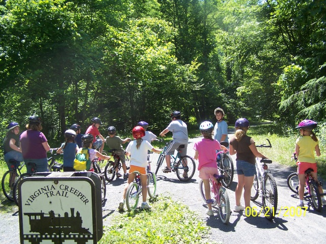 Virginia Creeper Trail, a multi-use trail built on an old rail bed in Southwest Virginia.