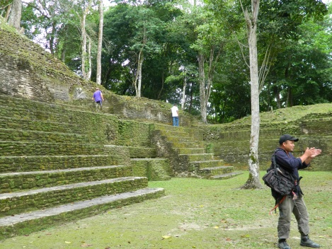 Inside the archaeological site at Cahal Pech near San Ignacio, Belize.