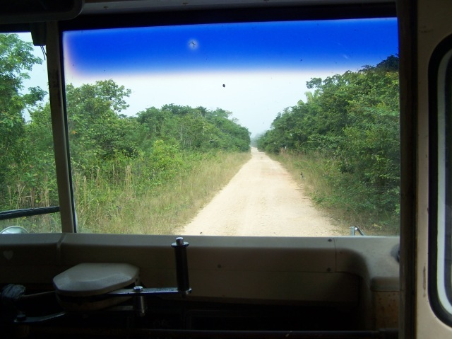 Along the fifteen mile stretch of between Western Highway and the village of More Tomorrow in Belize. High school kids must walk or bicycle fifteen miles to catch a bus to their school.