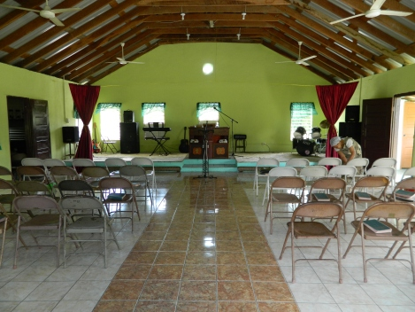 Inside Double Head Church in Belize where I attended my first international church service.