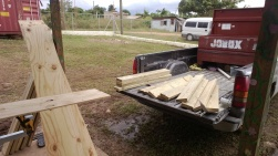 Cutting the lumber to build book shelves.