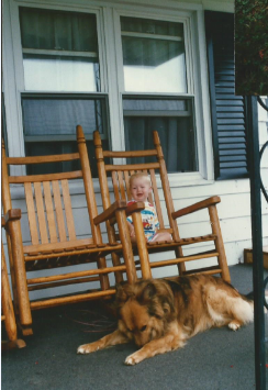 Sparky and my son in 1996
